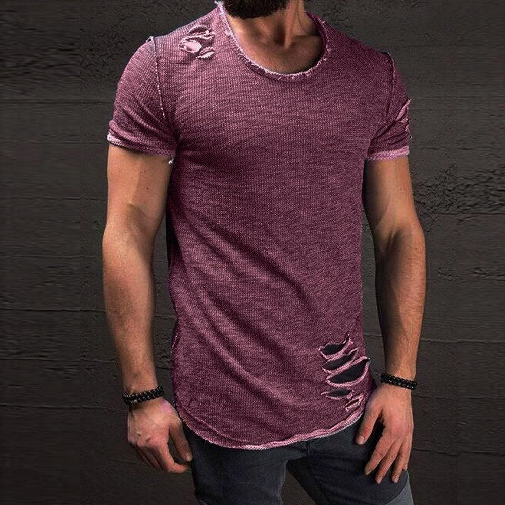 iLOOSKR Tees Top Men Fashion Short Sleeve Round Collar Pure Color Tees Shirt