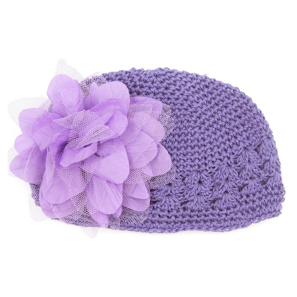 ❤️ Mealeaf ❤️ Toddlers Infant Baby Girl  Fashion Flower Hollow Out Hat Headwear Knitted Hat(Purple,)