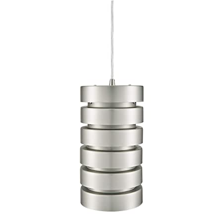 Linea di Liara Macchione Large 14 inch Modern Industrial Pendant Light Brushed Steel Metal Hanging Light Fixture LL-P518