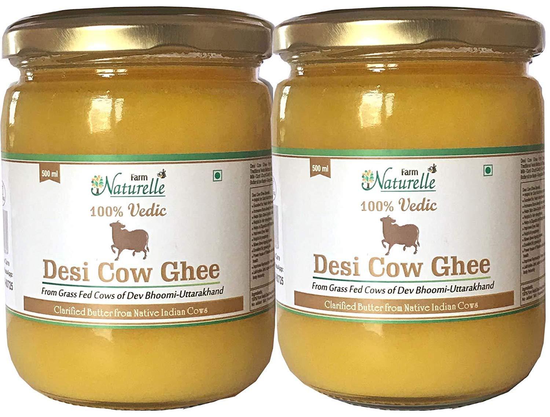 Farm Naturelle Desi Cow Ghee (Pack of 2) - 100% Pure From A2 Milk - 500 ML X 2 (16.90oz)