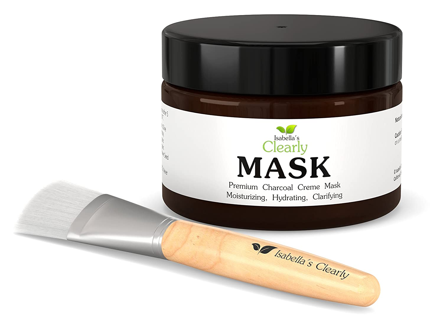 Clearly MASK Activated Charcoal Face Mask Creme Hydrates, Clarifies, and Moisturizes Dry Skin. Hyaluronic Acid, Olive, Jojoba Oils, Antioxidant Rich Rooibos, Toning DMAE, Vitamin C, B5. Natural, Organic, Vegan, with FREE mask brush. 4 Oz. Isabella' s C