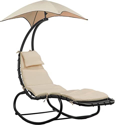 BELLEZE Outdoor Hanging Chaise Lounge Chair Swing Curved Cushion Seat Hammock with Canopy Sun Shade, Beige
