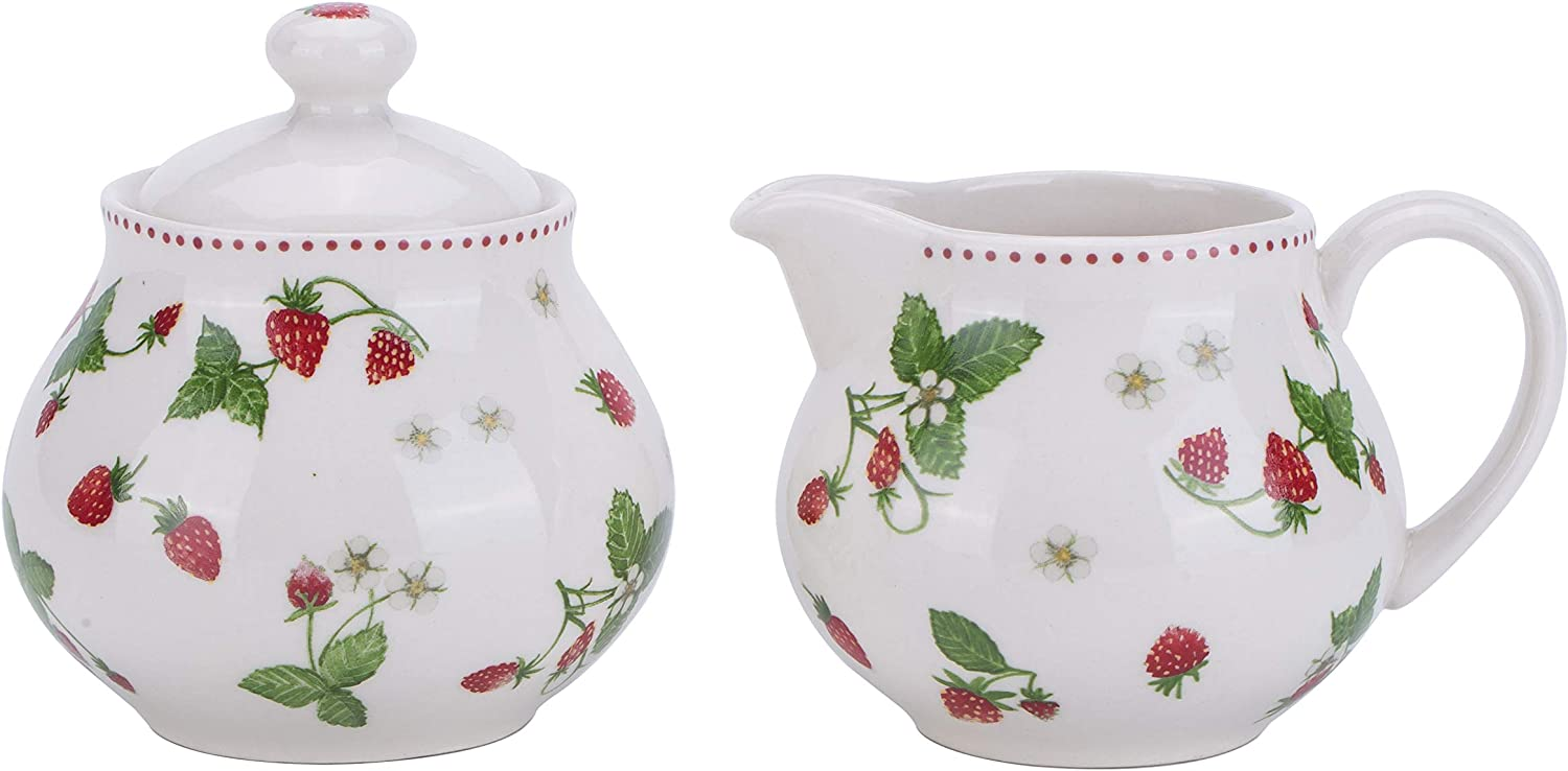 Lonovel Creamer and Sugar Sets with Lids Vintage Floral Ceramic Cream & Sugar Set In Beige for Coffee or Tea Porcelain Milk Pitcher and Sugar Bowl,Kitchen and Dining Beverage Serveware Tool,Strawberry