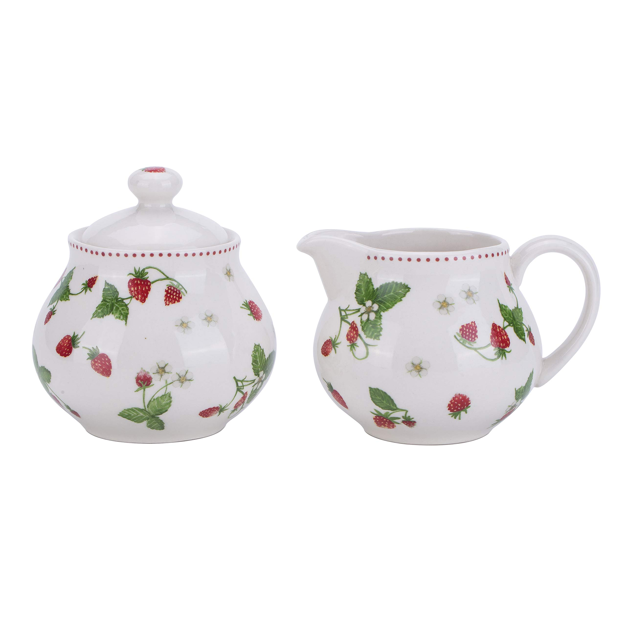 Lonovel Creamer and Sugar Sets with Lids Vintage In Beige Color for Coffee or Tea Porcelain Milk Pitcher and Sugar Bowl,Kitchen and Dining Beverage Serveware Tool,Strawberry