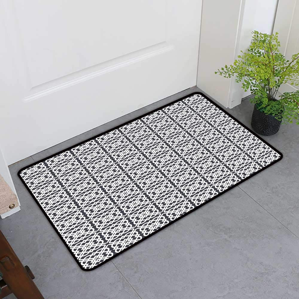 TableCovers&Home Front Door Mat Carpet, Geometric Decorative Imdoor Rugs for Kids Room, Medieval European Culture Influenced Jacquard Pattern Traditional Motifs (Charcoal Grey White, H36 x W60)