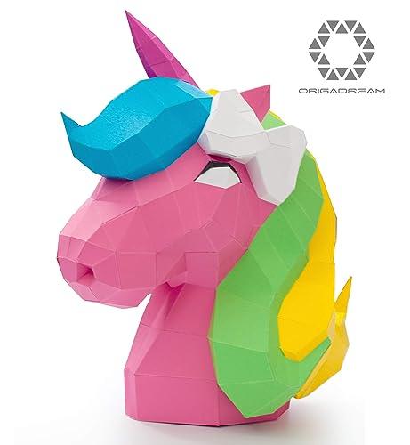 Amazon Diy The Cute Unicorn Papercraft Precut Kit Unicorn