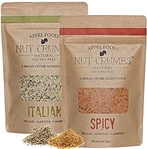 Appel Foods - Nut Crumbs - Bread Crumb Alternative - Gluten Free - Sugar Free - Low Carb - Low Sodium - Raw, Premium Nuts - Italian/Spicy 2pk