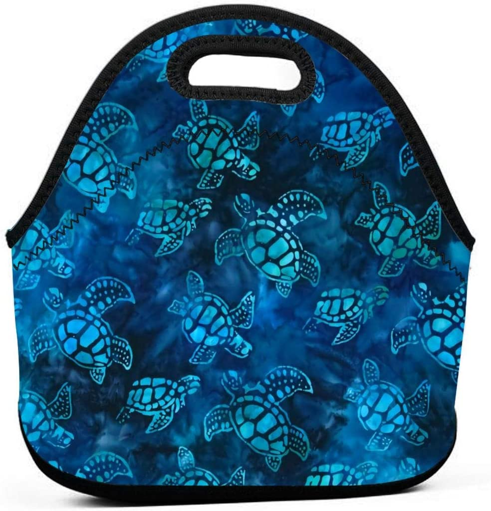 Watercolor Blue Sea Turtle Insulated Neoprene Lunch Bag Tote Handbag lunchbox Food Container Gourmet Tote Cooler warm Pouch For School work Office