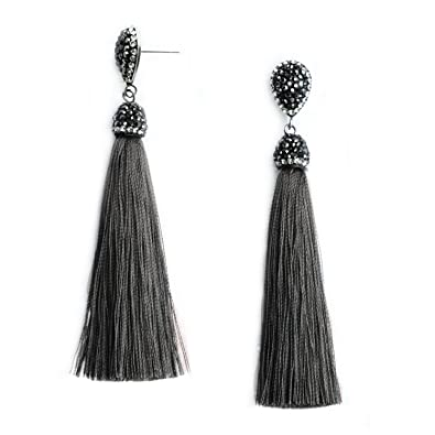 d1444592c85bdf Women's Dangle Drop Tassel Earrings Grey Fringe Long Tassel Earrings  Stainless Steel Stud with Rhinestone Top