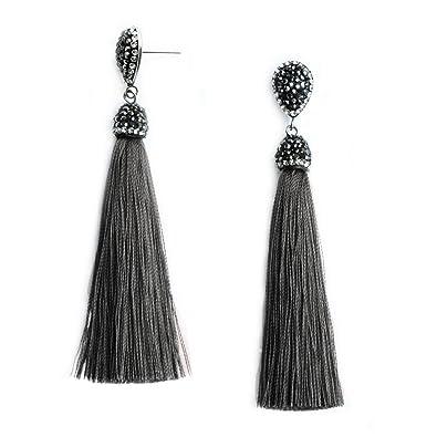 Earrings Beads & Jewelry Making Women Girl Fashion Rhinestone Long Tassel Dangle Earrings Fringe Drop Earrings*