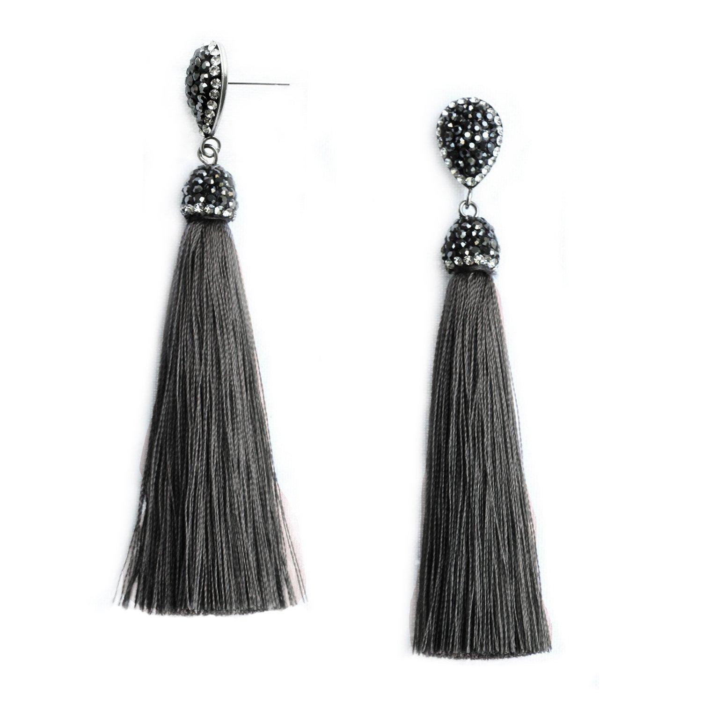 Women's Dangle Drop Tassel Earrings Grey Fringe Long Tassel Earrings Stainless Steel Stud with Rhinestone Top