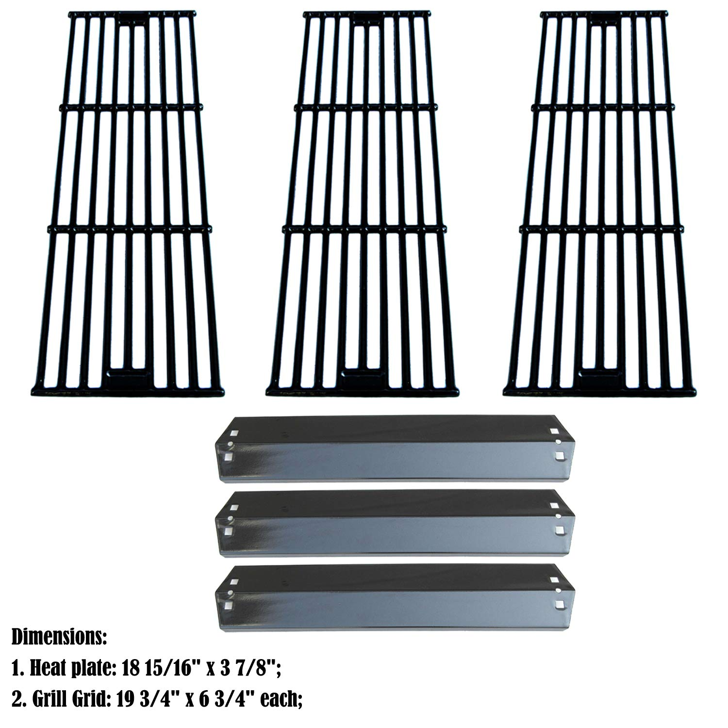 Direct Store Parts Kit DG234 Replacement for Chargriller 3001,3008,3030,40,00, 5050,5252; King Griller 3008,5252 Gas Grill (Porcelain Steel Heat Plates + Porcelain Cast Iron Cooking Grid) by Direct Store