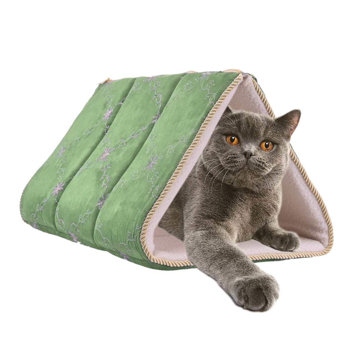 Brinkmann 2-in-1 Cat Teepee Pet Mat Tunnel Bed Cave Pyramid Tent Covered Pad