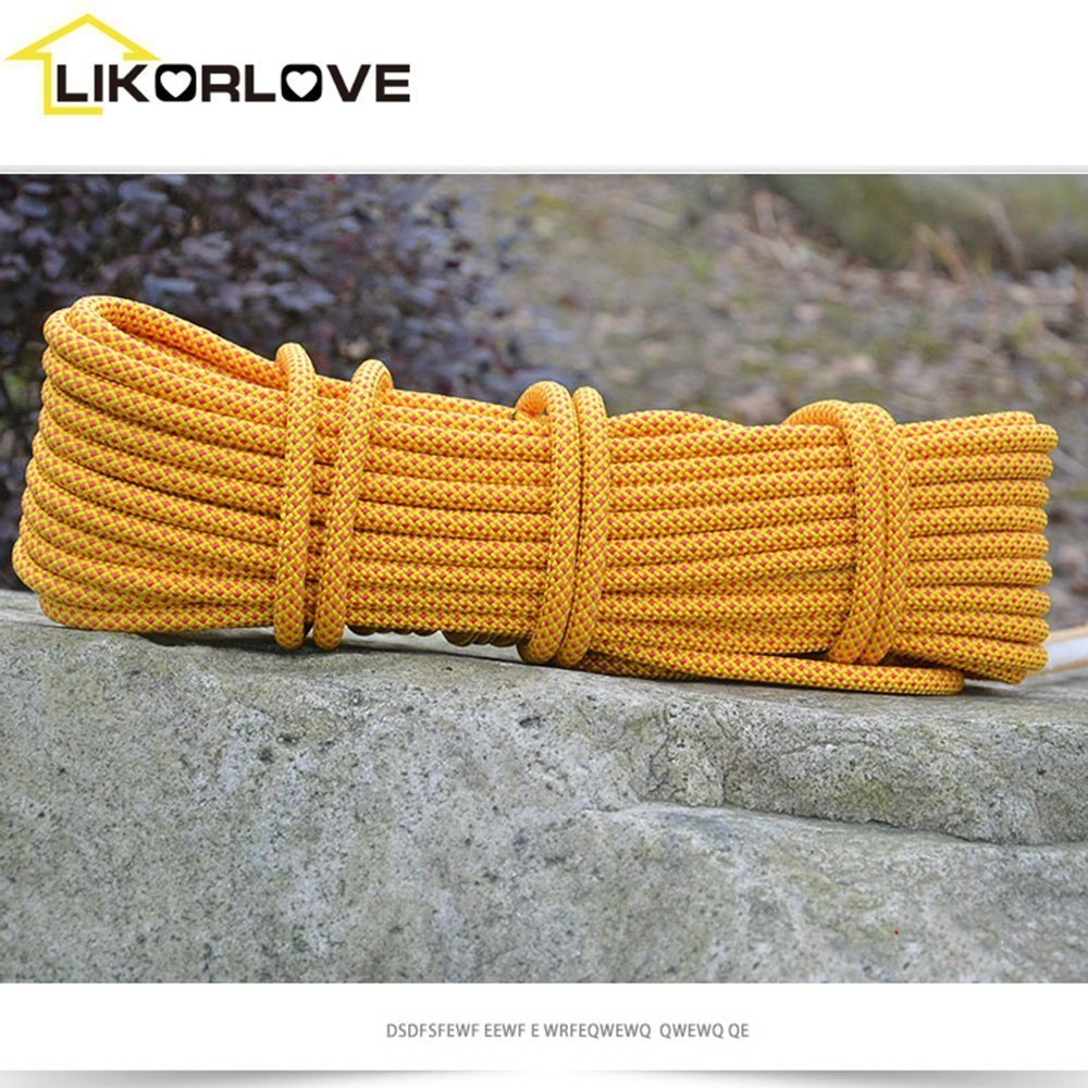 Climbing Rope 10M(32ft),Likorlove Outdoor Rock Climbing Safety Rope with 2 Carabiners for Escape, Fire Survival, Backup, Climbing, Hiking, Camping