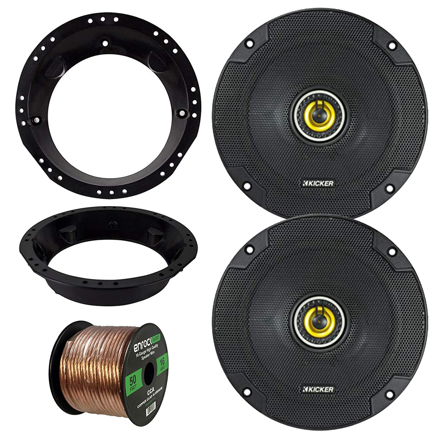 Enrock 50 Foot 16 Guage Speaker Wire 2X Kicker 40CS654 6.5 Inch 300 Watts 2-Way Black Car Stereo Coaxial Speakers Combo With Speaker Mounting Rings For Motorcycles 98-13 Harley Speaker Bundle