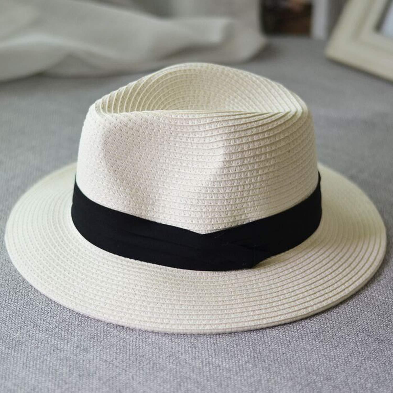 Summer Unisex Sun hat Casual Vacation Panama Straw hat Women Wide Brim Beach Jazz Men Hats Foldable Chapeau