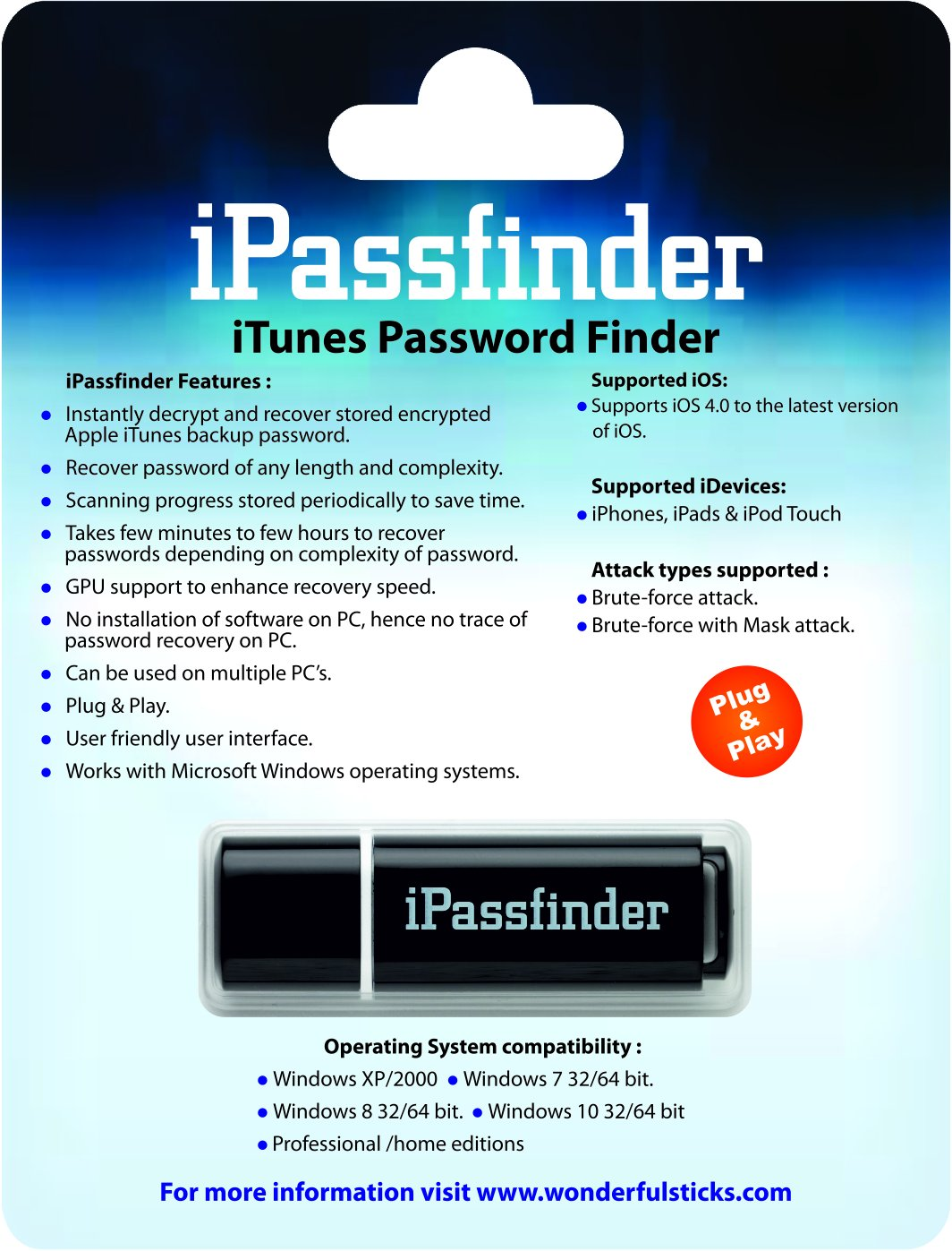iPassfinder Password Recovery Tool for iPhone, iPad and iPod