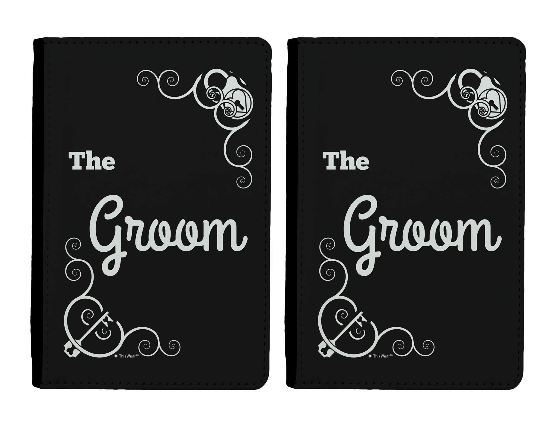 Travel Gifts for Men The Groom Wedding Gifts 2-pack Full Color Passport Covers Wallet Black & White