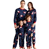 SERAPHY Matching Family Christmas Pajamas Set 2 Pieces Festival Holiday Pjs Matching Dad Mon Kids Baby Warm One Piece Sleepwear