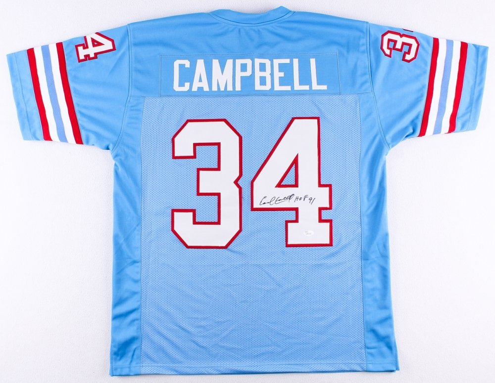 Earl Campbell Autographed Blue Houston Oilers Jersey - Hand Signed By Earl Campbell and Certified Authentic by JSA - Includes Certificate of Authenticity - Inscribed HOF 91