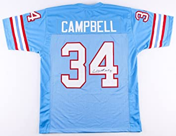 Earl Campbell Autographed Blue Houston Oilers Jersey - Hand Signed By Earl  Campbell and Certified Authentic fbd38441c