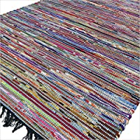 Eyes of India - 4 X 6 ft Colorful Blue Woven Decorative Chindi Area Rag Rug Indian Bohemian Boho