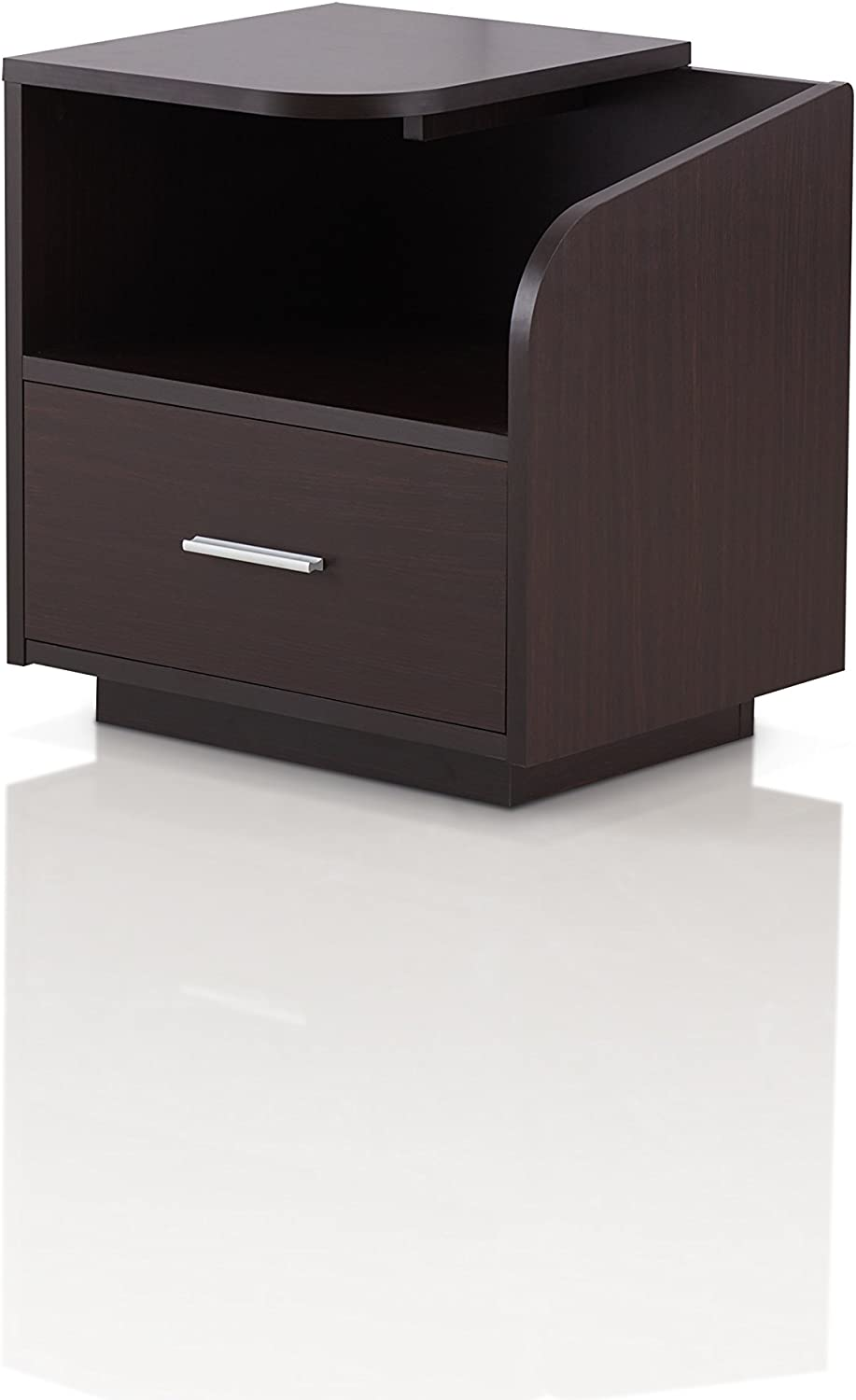 Furniture of America Chard Contemporary Wood End Table with 1-Drawer, Walnut