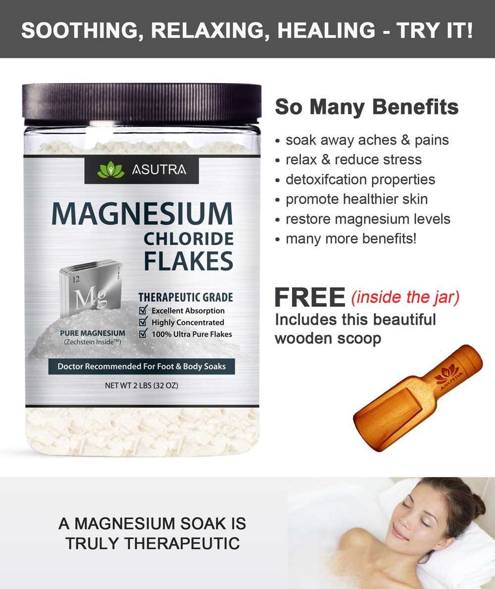ASUTRA Pure Zechstein Magnesium Chloride Flakes - For Foot & Body Soaks + Free Magnesium E-Book (2 lbs) by ASUTRA (Image #4)