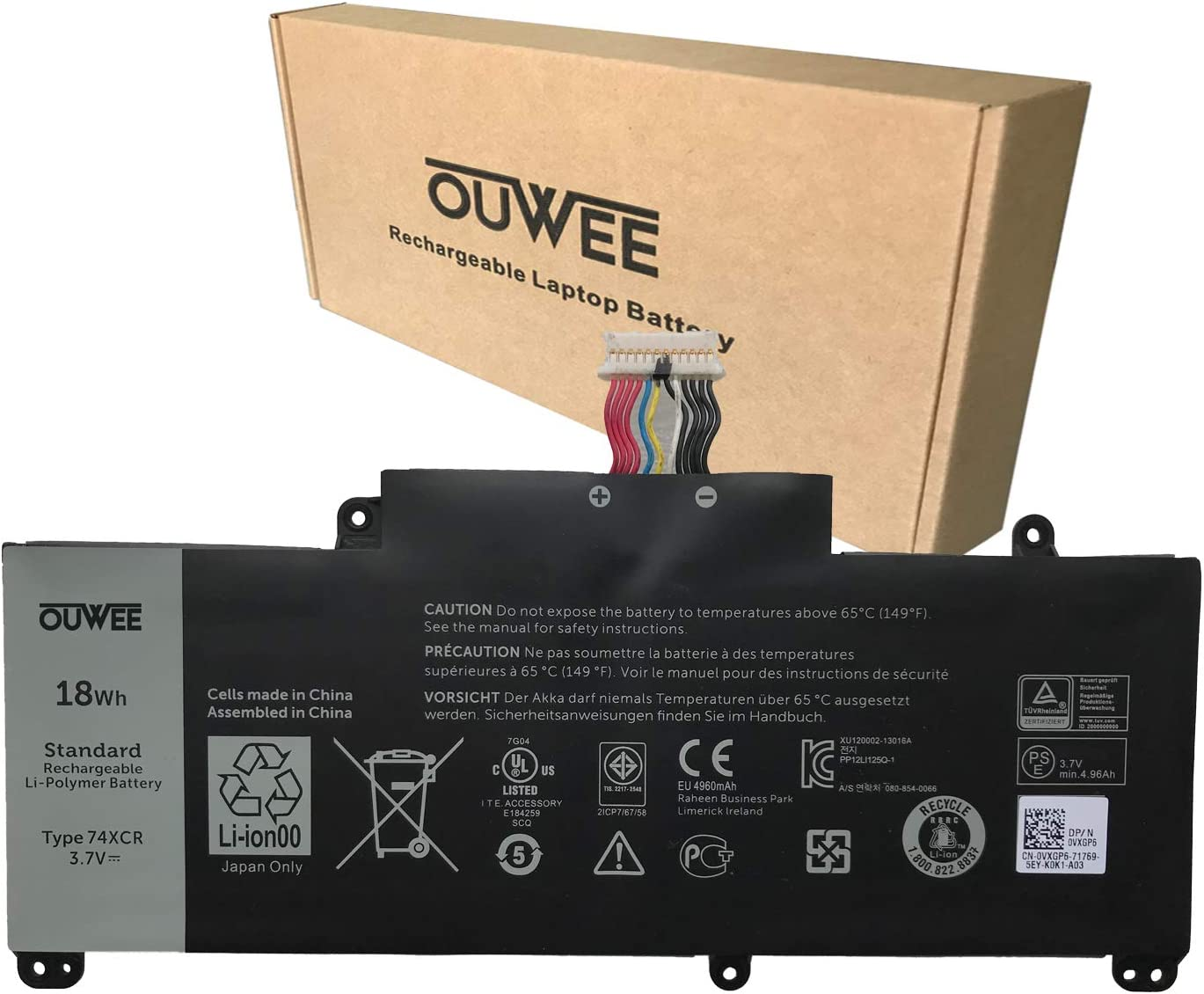 OUWEE 74XCR Laptop Battery Compatible with Dell Venue 8 Pro 5830 Tablet Series Notebook 074XCR X1M2Y 0X1M2Y VXGP6 0VXGP6 3.7V 18Wh 4960mAh 2-Cell