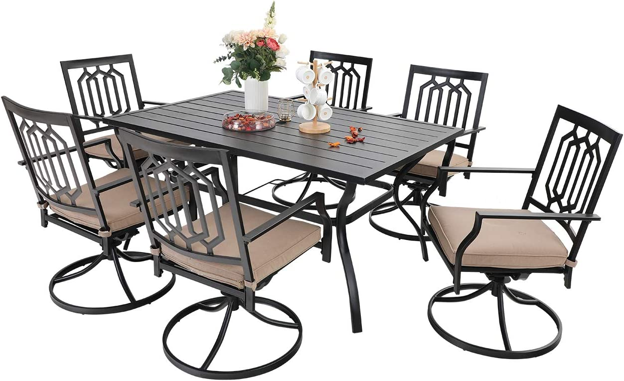 Sophia William Outdoor Patio Dining Set 7 Pieces Metal Furniture Set