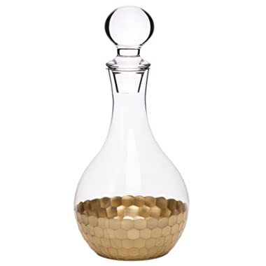 Whiskey Decanter Wine Carafe, Gold Plated Premium Glassware Hand Crafted Drinkware, Holiday Gift