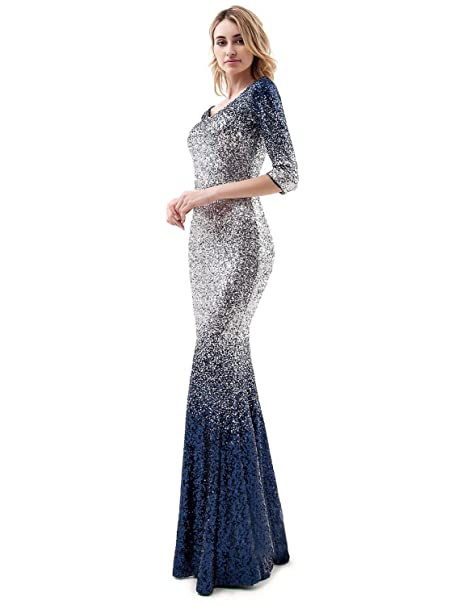 285398e88da0 Women s Ombre Sequins Mermaid Prom Evening Dresses Sleeves Formal Party  GownP1 at Amazon Women s Clothing store