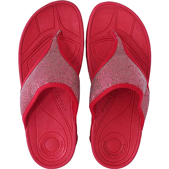 6a63f589fcd708 Womens Carrou Keep Fit Sequin Workout Fitness Flip Flop Sandals Toe Post  Red (UK 8)  Amazon.co.uk  Shoes   Bags