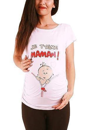 3962c65b6 Je T Aime Maman - Moda premamá Divertida y Dulce Camiseta premamá Sudadera  con Estampado Durante el Embarazo