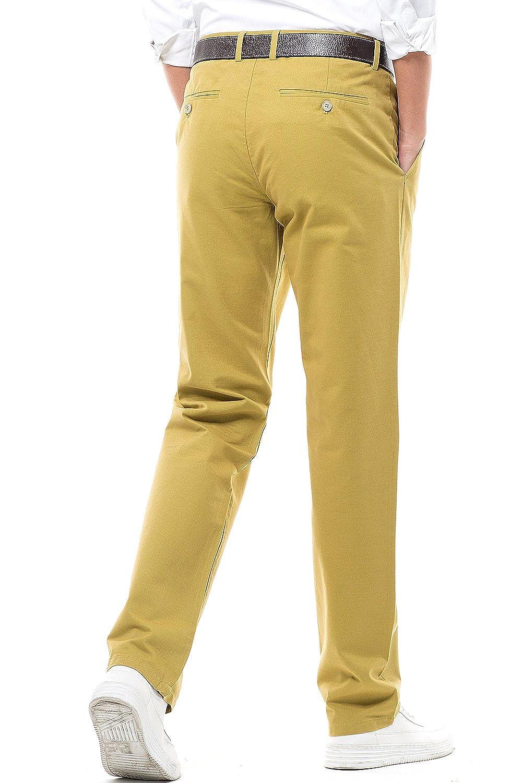 Mens Regular Fit Dress Pants 100/% Cotton Flat Front Casual Pants Trousers for Men Deep Yellow