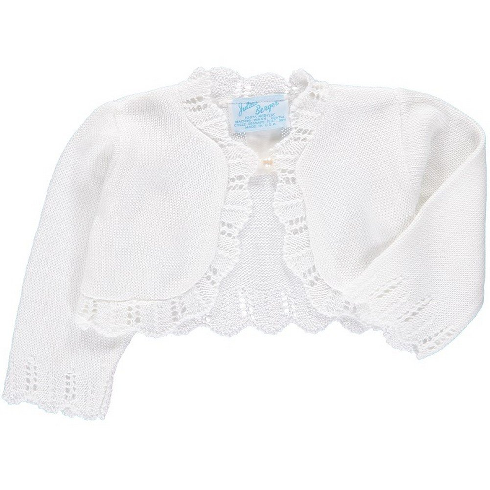 Julius Berger Big Girls White Scalloped Edge Mid Torso Classic Bolero 7-16