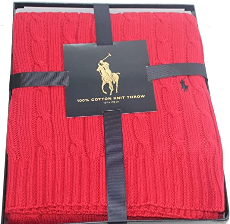 Polo Ralph Lauren Home - Manta de cable para el hogar, color rojo ...