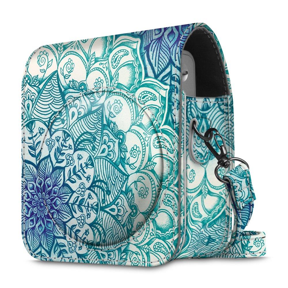 Fintie Protective Case for Fujifilm Instax Mini 90 - Premium Vegan Leather Bag Cover for Fujifilm Instax Mini 90 Neo Classic Instant Film Camera with Removable/Adjustable Strap, Emerald Illusions