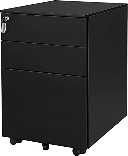 3 Drawer Metal Mobile File Cabinet with Lock Fully Assembled Except Casters Black