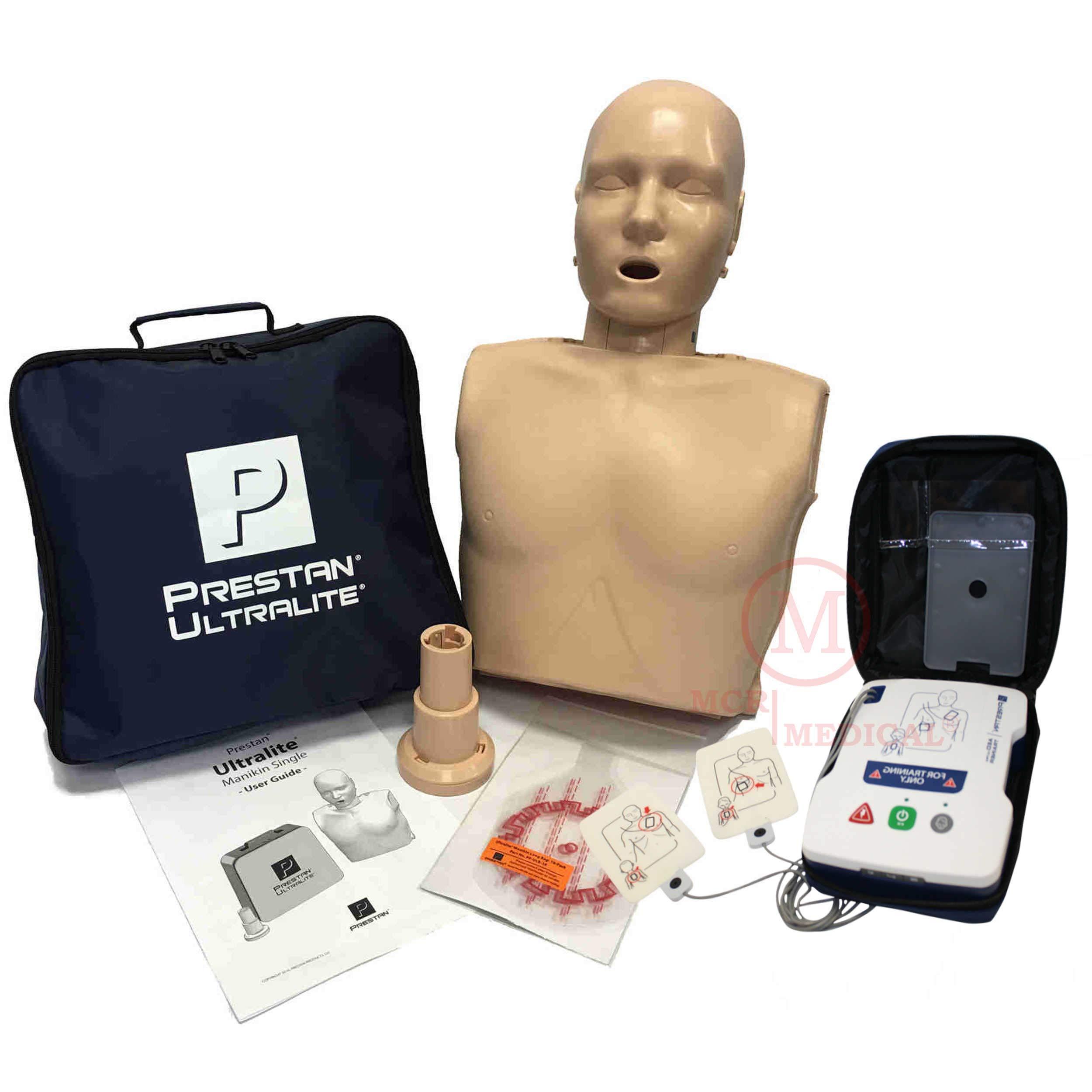Basic CPR Training Kit w Prestan Ultralite CPR Manikin, AED UltraTrainer, MCR Accessories