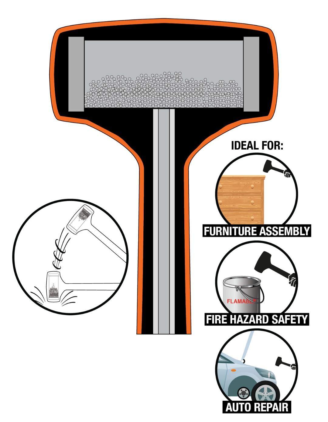Neon Orange 3 LB Spark and Rebound Resistant Dead Blow Hammer
