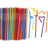 200 Count Bendy Straws - Bulk Pack Party Straws, Flexible Extra Long Plastic Straws for Birthdays, Parties, Celebrations - 11 inches