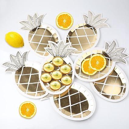 OurWarm 16pcs Gold Foil Pineapple Plates Disposable Tableware set Paper Plates for Hawaiian Luau Party Supplies  sc 1 st  Amazon.com & Amazon.com: OurWarm 16pcs Gold Foil Pineapple Plates Disposable ...