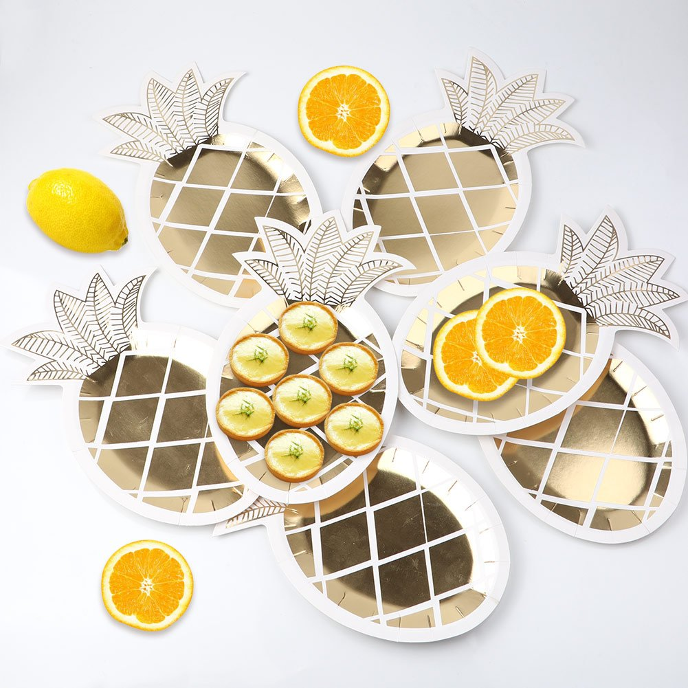 OurWarm 16pcs Gold Foil Pineapple Plates Disposable Tableware set Paper Plates for Hawaiian Luau Party Supplies