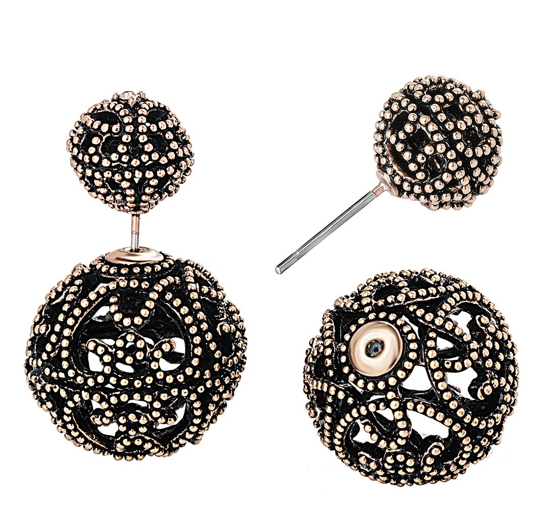 SheLian Vintage Hollow out Womens Double Side Round Ball Stud Earrings(Antique Gold Tone)