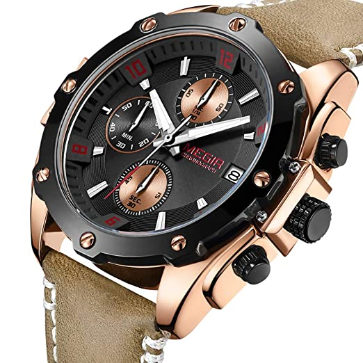 Megir Cronógrafo de Cuarzo para Hombre Reloj de Pulsera de Cuero de Negocios Deportes ejército Militar Reloj de Pulsera Regalo para Hombre: Amazon.es: ...