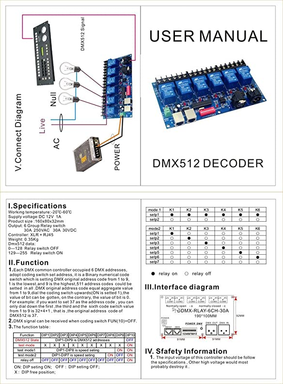 Amazoncom 6CH Relay Switch Dmx512 Controller Relay Output DMX512