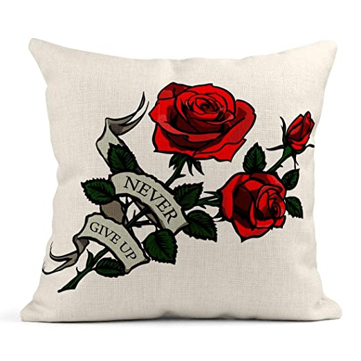 Kinhevao Almohada de Tiro Tallo Verde Tatuaje Rosas Rojas Flor ...