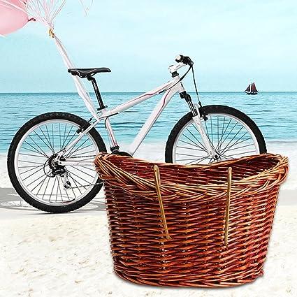 Wicker Front Handlebar Bike Basket Cargo