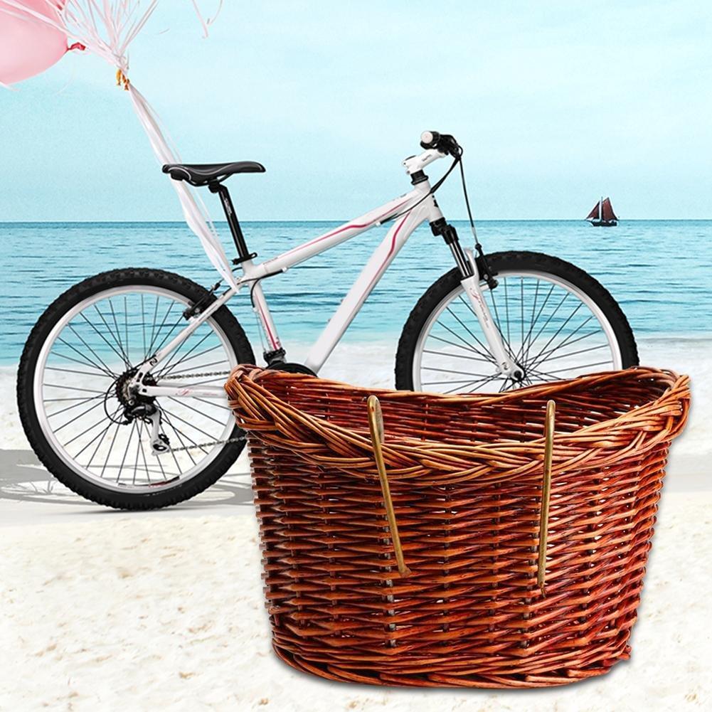 Awhao Manillar delantero de mimbre cesta tejida de la bicicleta con hebillas de bloqueo de lat/ón 34/x27/x21cm.